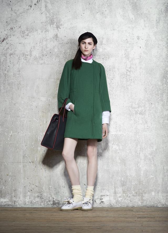 【SONIA BY SONIA RYKIEL 1207每日一物】墨綠無領隱形釦羊毛大衣 ,驚喜價6,999-013