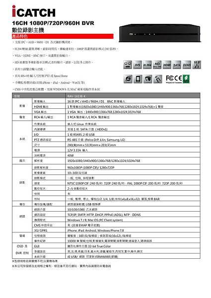 可取iCATCH RAV-1613E-K AHD 1080P 200萬數位監視主機-數位錄影主機.jpg
