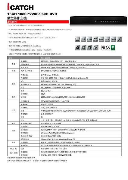 可取iCATCH RAV-1613E-N AHD 1080P 200萬數位監視主機-數位錄影主機.jpg