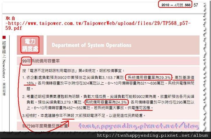 2010年4月:系統備用容量率為29.3%,高於基準值