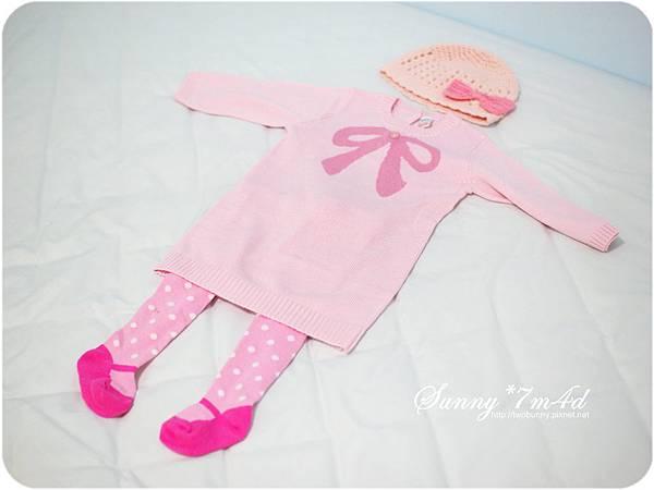 粉紅蝴蝶結帽帽+NEXT針織洋裝-01.jpg