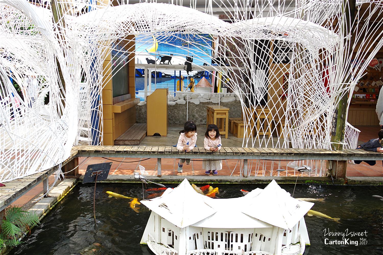台中大坑紙箱王創意園區魚池餵魚