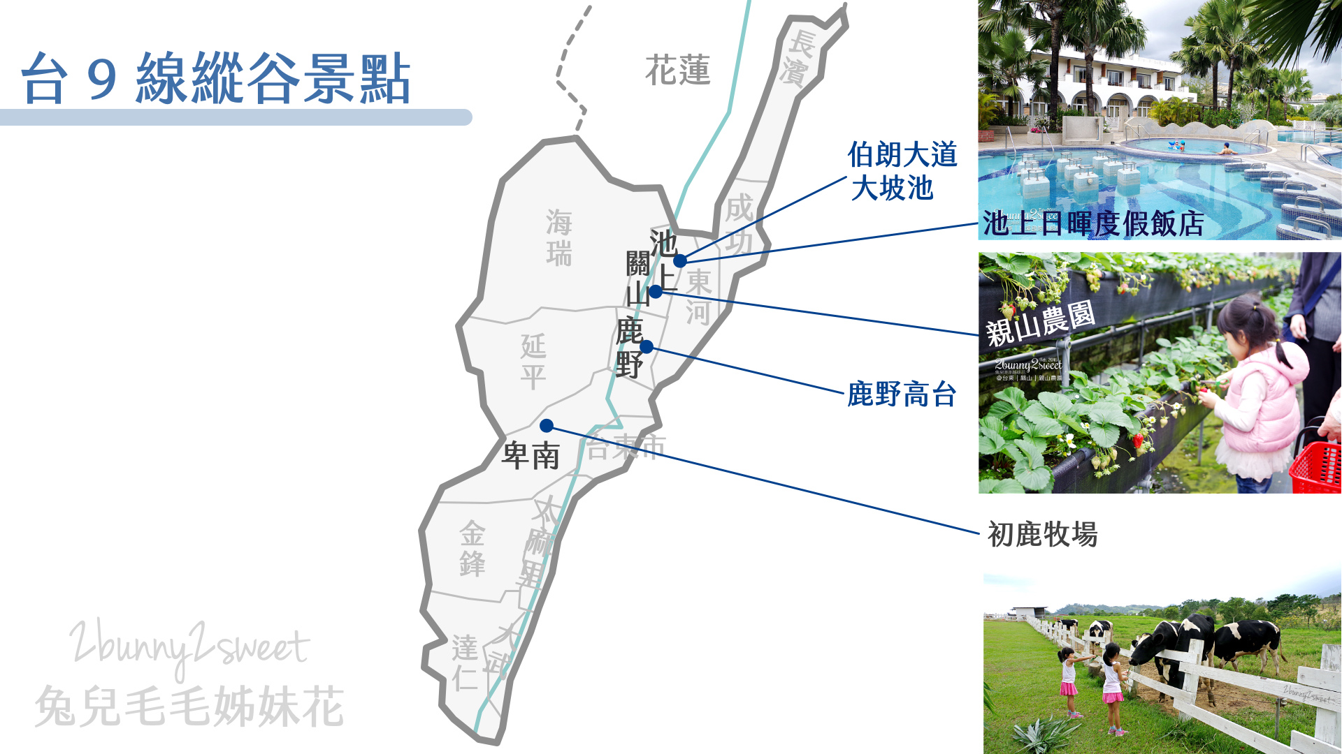 台東旅遊地圖-台9線縱谷景點