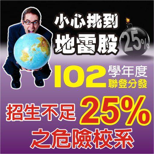 102年招生不足25%的危險校系