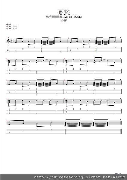憂愁-小安(烏克麗練習版) - BMP