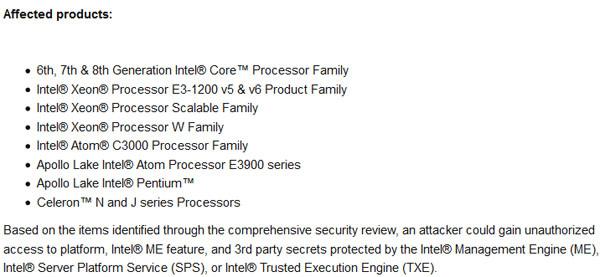 Intel official security advisory,SA-00086