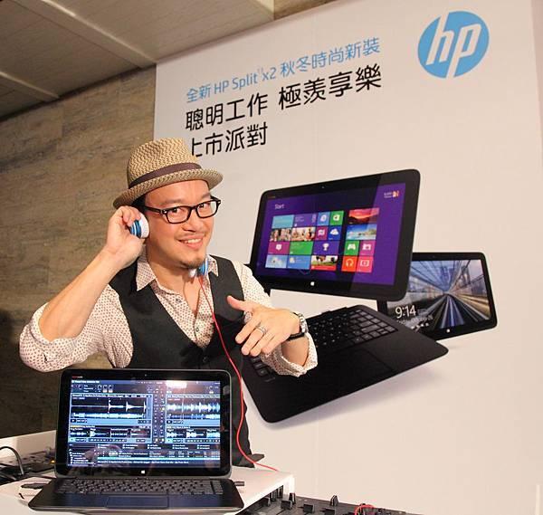 圖說二、知名音樂DJ劉軒今天特別出席HP_Split_13_x2新品發表會,Beats_Audio_音效功能、EQ個性化調整功能,可隨心所欲調整音頻、編輯音樂