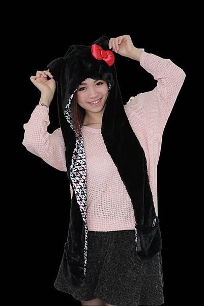 HELLO KITTY造型圍巾帽組_神秘黑