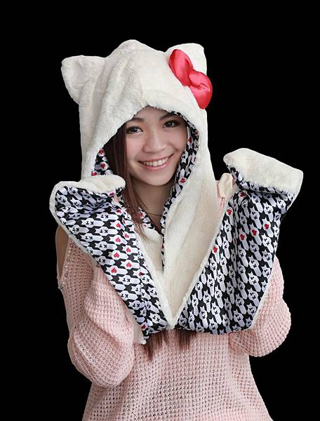 HELLO KITTY造型圍巾帽組_夢幻白