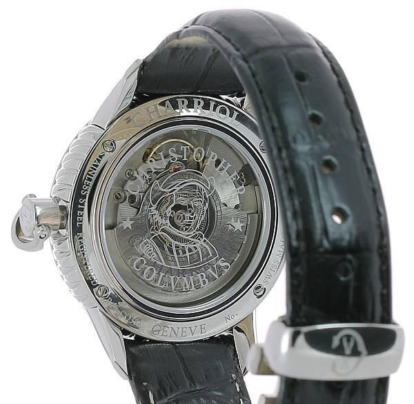 圖十四 COLVMBVS™ 腕錶藍寶石水晶裱背鐫刻航海家哥倫布頭像線條