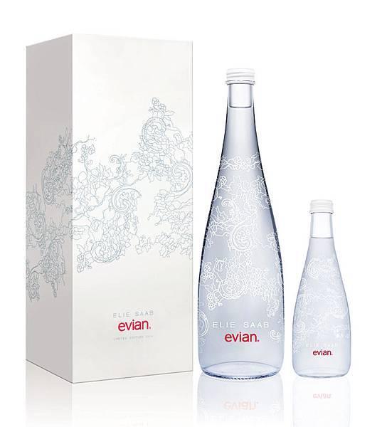 evian x ELIE SAAB 2014限量紀念瓶,共有750毫升及330毫升包裝