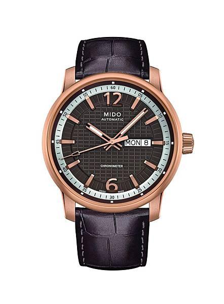 Great Wall長城系列天文台認證腕錶-玫瑰金錶盤搭配巧克力色面盤與同色系鱷魚壓紋小牛皮真皮錶帶(建議售價NT$45,300)