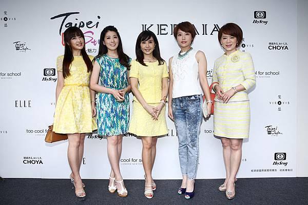 左起知名女主播群陳海茵、張瓊方、黃倩萍、李天怡、陳雅琳出席KERAIA品牌發表會