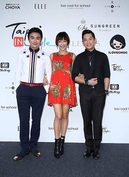 左起時尚造型師Sam、藝人GIGI、藝人Junior出席杭州女裝品牌發布時裝秀