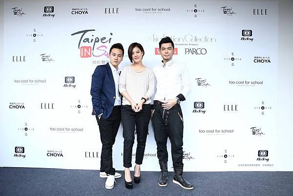 左起藝人綠茶、黃小柔和No Name出席Asia Fashoin Collection服裝秀