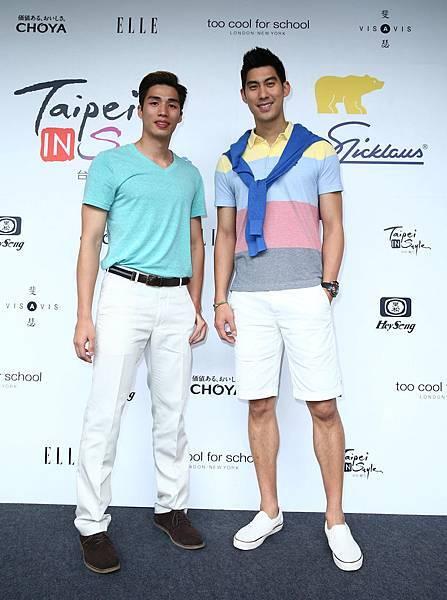 左起知名球星林力仁與毛加恩出席Jack Nicklaus時尚時裝秀