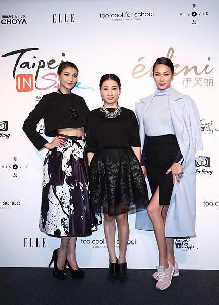左起名模陳思璇、伊芙麗設計總監朱婷婷和名模張珈瑜合影