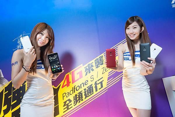 華碩旗艦機皇PadFone S(左)、全民機王ZenFone 5 LTE(右)今日正式上市,台灣4G LTE全頻通行