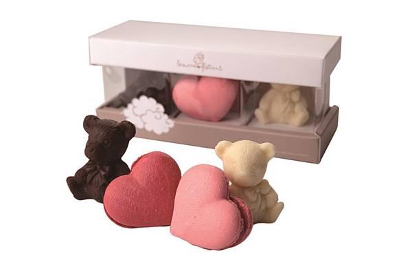 統一阪急台北店_浮糖朵兒粉紅玫瑰馬卡龍小熊戀人組原價400元推薦價350元