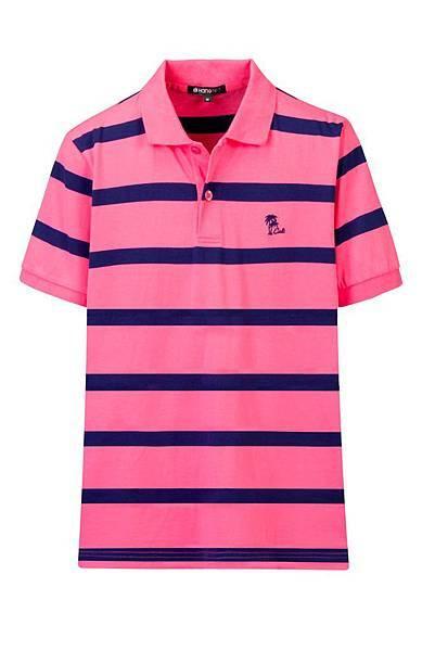 Hang Ten男裝-渡假彩條POLO衫(藍粉條紋) NT$1,290