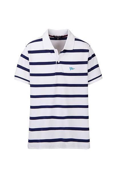 Hang Ten男裝-學院旗幟條紋POLO衫 (藍條紋) NT$1,090