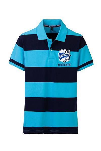 Hang Ten男裝-學院徽章條紋POLO衫 (藍黑條紋) NT$1,290