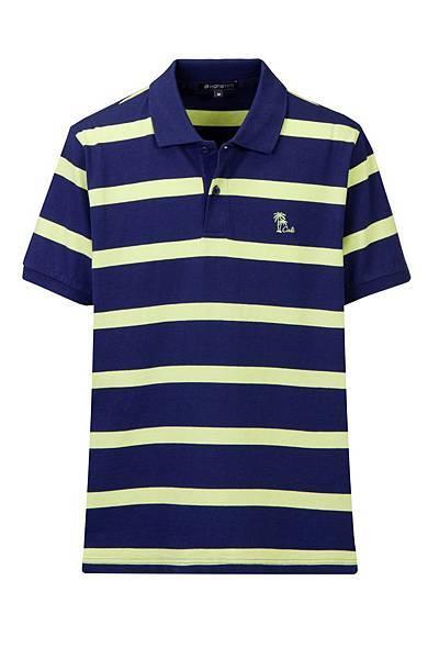 Hang Ten男裝-渡假彩條POLO衫(藍綠條紋) NT$1,290
