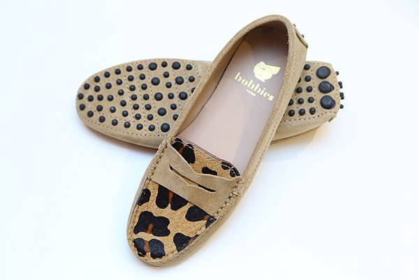 La Bondissante BOBBIES 馬毛豹紋樂福鞋 - 駝