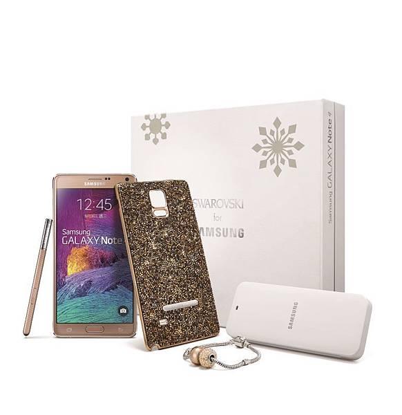「璀璨精裝版組合」內含GALAXY Note 4乙支、璀璨晶耀被蓋背蓋乙支、Crystals from Swarovski迷人串珠手鍊乙條及原廠充電組合包,整體組合價只要$29,990元