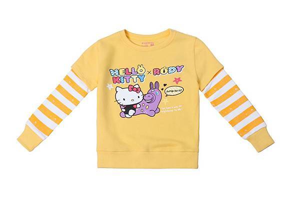Hang Ten童裝- Hello Kitty x Rody聯名系列-Colorful party假兩件圓領長袖上衣 NT$2,390