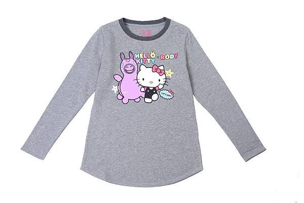 Hang Ten女裝- Hello Kitty x Rody聯名系列-Colorful party圓領長袖上衣 NT$1,990