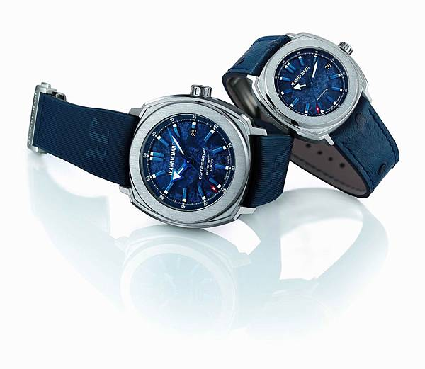 JEANRICHARD尚維沙藍色Terrascope腕表,左為新款44毫米男士腕表,右為年初發表的39毫米女士腕表。