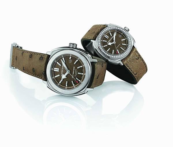 JEANRICHARD尚維沙Terrascope青銅腕表,左為44毫米男士腕表,右為39毫米女士腕表。