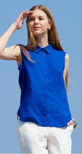 女裝特級亞麻襯衫(無袖)_原價NT$790_0430-0507期間限定價NT$590 (1)