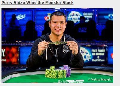 圖2.台裔美籍的Perry Shiao贏得WSOP第28賽事冠軍 頒獎現場響起國旗歌 (圖片來源WSOP網站截圖)
