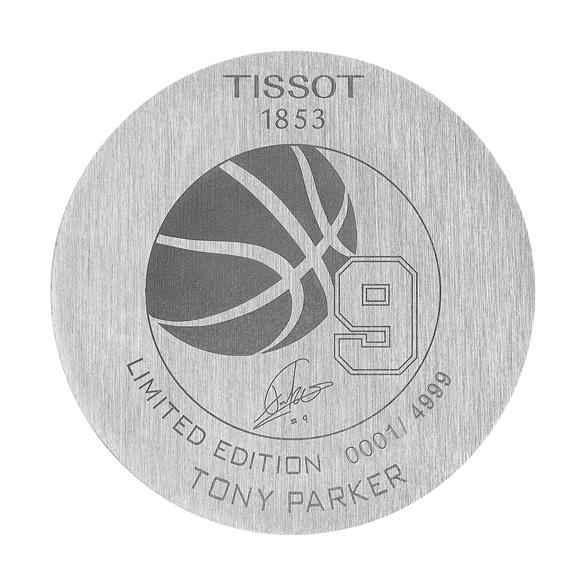圖2. 天梭觸控感應太陽能腕錶Tony Parker限量版腕錶錶後蓋刻有天梭表全球品牌形象大使 Tony Parker簽名,全球限量4,999隻。