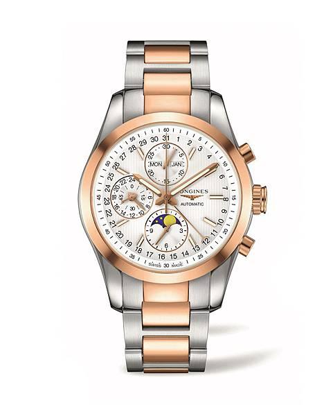 5. 征服者經典系列雙色金全日曆月相計時碼錶L2.798.5.72.7 NT$166,000
