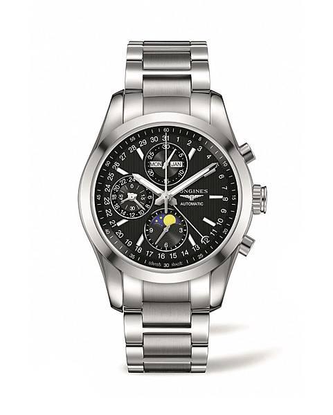 4. 征服者經典系列不鏽鋼全日曆月相計時碼錶L2.798.4.52.6 NT$111,000