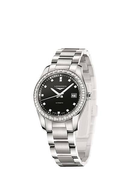 1. 征服者經典系列不鏽鋼鑲鑽腕錶 L2.285.0.57.6 NT$138,300