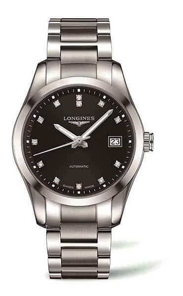 3. 征服者經典系列黑面點鑽大三針男用不鏽鋼腕錶L2.785.4.58.6 NT$77,100