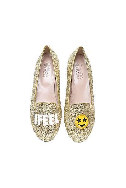 I Feel系列 金色亮片笑臉樂福鞋 $10,800