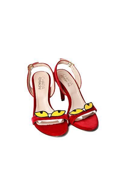 Monster系列 天鵝絨怪獸紅色高跟涼鞋 $19,600