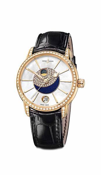 鎏金沁月嬋娟腕錶_帶鑽藍色砂金石錶盤去背圖