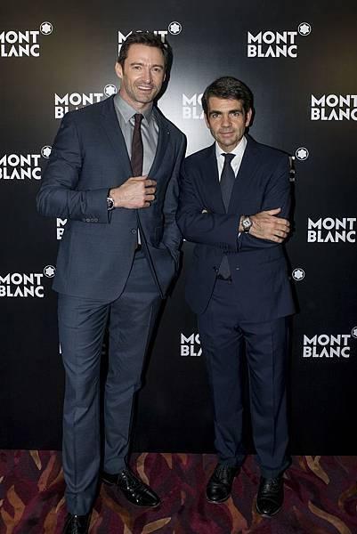 萬寶龍品牌大使休傑克曼出席萬寶龍於亞洲高級鐘錶展活動,右為全球總裁Jerome Lambert