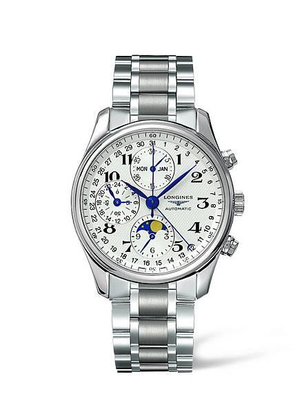 浪琴表巨擘系列全日曆月相計時碼錶(L2.673.4.78.6),建議售價NTD104,100
