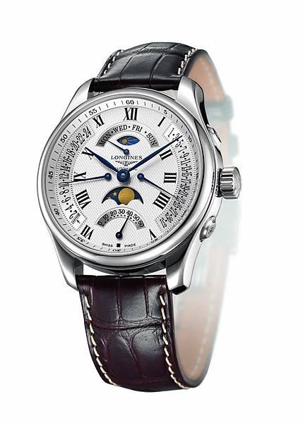 浪琴表巨擘系列月相四逆跳腕錶(L2.739.4.71.3),建議售價NTD121,400