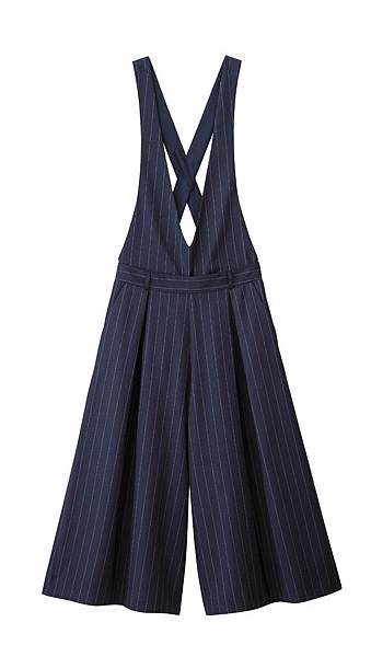 GU網路商店搶先販售商品_女裝吊帶寬褲(條紋)_NT850元