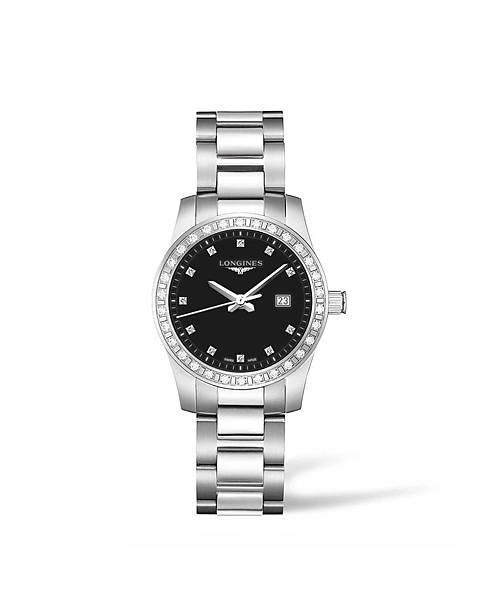 浪琴表征服者系列鑲鑽腕錶(L3.300.0.57.6),建議售價NTD69,200