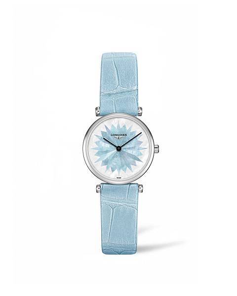 浪琴表嘉嵐系列寧靜藍鱷魚皮腕錶(L4.209.4.03.2),建議售價NTD46,000