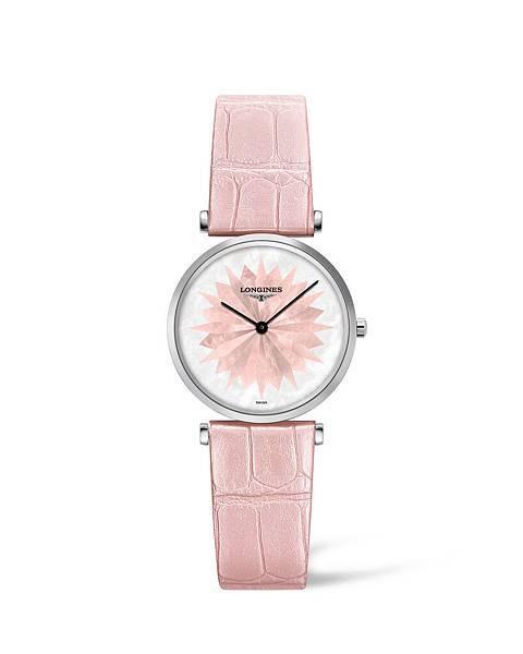 浪琴表嘉嵐系列玫瑰粉鱷魚皮腕錶 (L4.512.4.04.2),建議售價NTD47,700